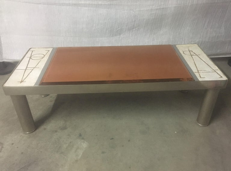 Late 20th Century Ceramic and Chromed Metal Rectangular Coffee Table, Brown Glass Slab Top, 1970s For Sale