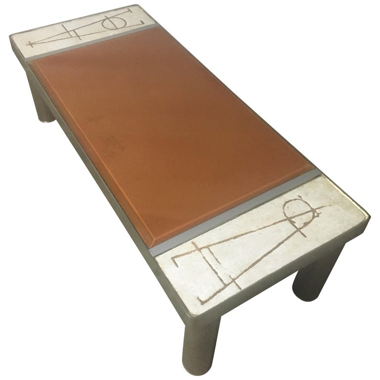 Ceramic and Chromed Metal Rectangular Coffee Table, Brown Glass Slab Top, 1970s For Sale
