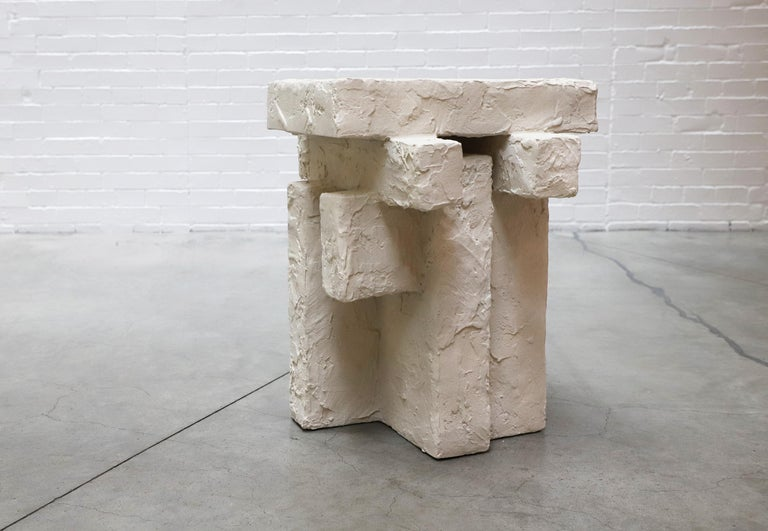 Modern Ceramic and Gypsum Sculptural Sand Spackle Side Table by Hayden Richer For Sale