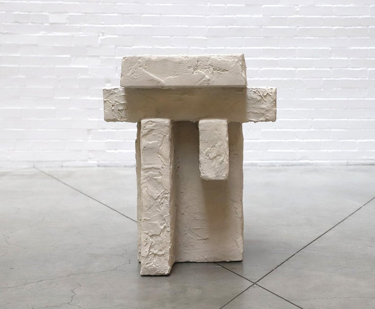 American Ceramic and Gypsum Sculptural Sand Spackle Side Table by Hayden Richer For Sale