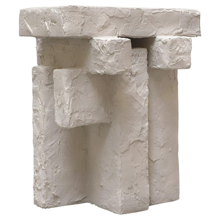 Ceramic and Gypsum Sculptural Sand Spackle Side Table by Hayden Richer For Sale