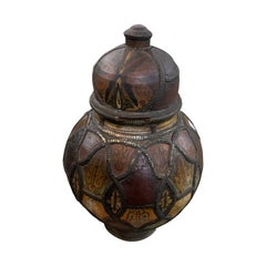 Ceramic and Leather Lidded Vase, Morocco, 19th Century