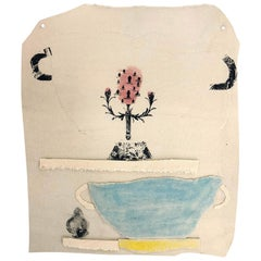 Ceramic and Mixed-Media Vase Collage Wall Hanging by Alison Owen