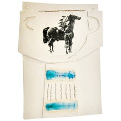 Ceramic and Mixed-Media Vase Collage Wall Hanging with Horse by Alison Owen