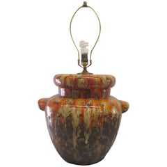 Ceramic and Orange Glaze Drip Lamp
