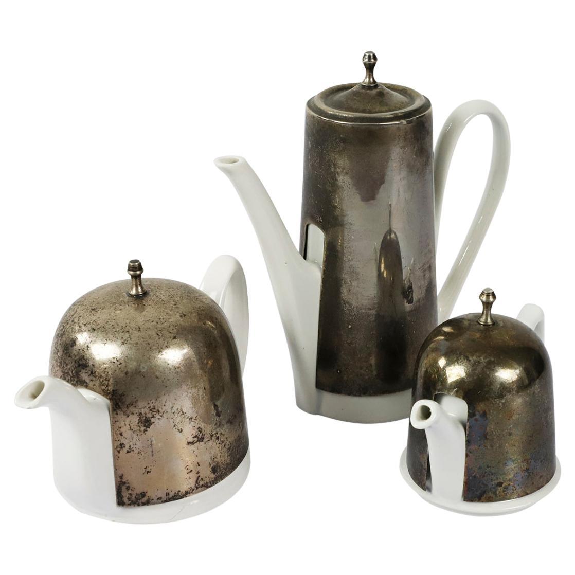 Ceramic and Steel Tea and Coffee Set
