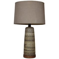 Ceramic and Walnut Table Lamp Designed by Gordon & Jane Martz
