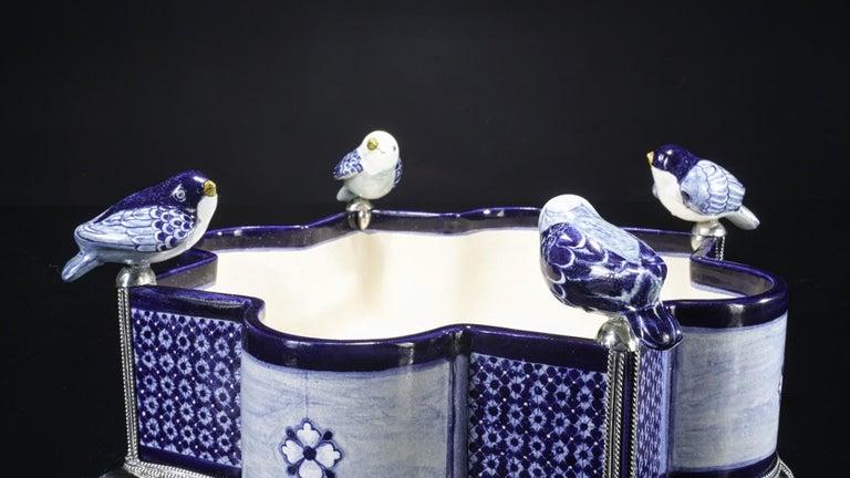 Metalwork Ceramic and White Metal 'Alpaca' Bird Bowl Centerpiece For Sale