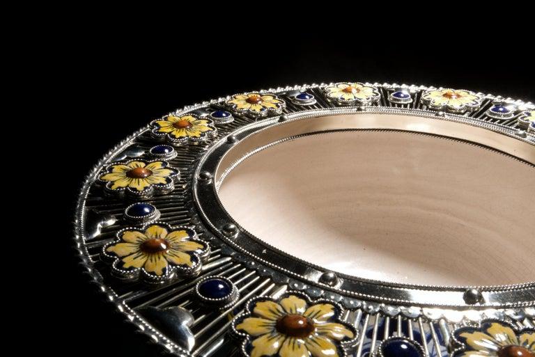 Contemporary Ceramic and White Metal 'Alpaca' Bird Bowl Centerpiece For Sale