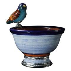 Ceramic and White Metal 'Alpaca' Bird Bowl Centerpiece