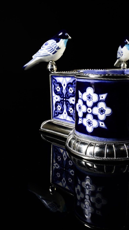 Ceramic and White Metal 'Alpaca' Bird Bowl Centerpiece For Sale 3