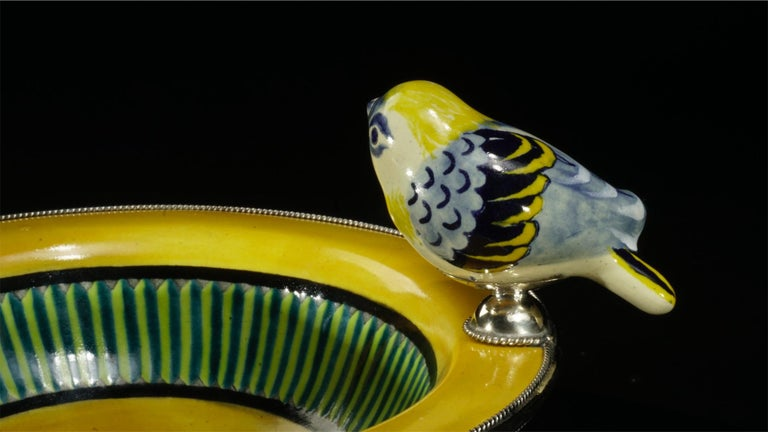 Baroque Revival Ceramic and White Metal 'Alpaca' Bird Bowl Centrepiece For Sale