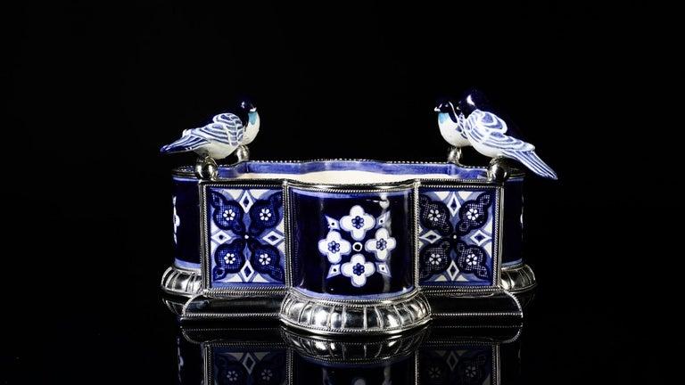 Baroque Revival Ceramic and White Metal 'Alpaca' Bird Bowl Centerpiece For Sale