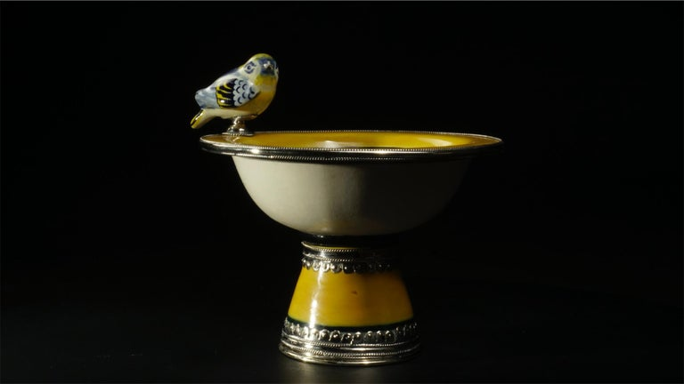 Mexican Ceramic and White Metal 'Alpaca' Bird Bowl Centrepiece For Sale