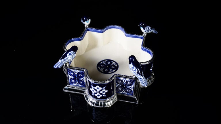 Mexican Ceramic and White Metal 'Alpaca' Bird Bowl Centerpiece For Sale