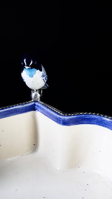 Ceramic and White Metal 'Alpaca' Bird Bowl Centerpiece For Sale 1