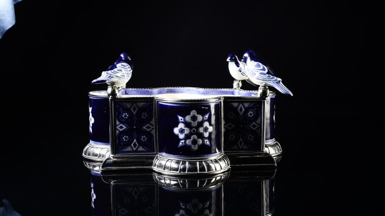 Ceramic and White Metal 'Alpaca' Bird Bowl Centerpiece For Sale 2