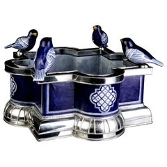 Ceramic and White Metal 'Alpaca' Bird Bowl Centrepiece