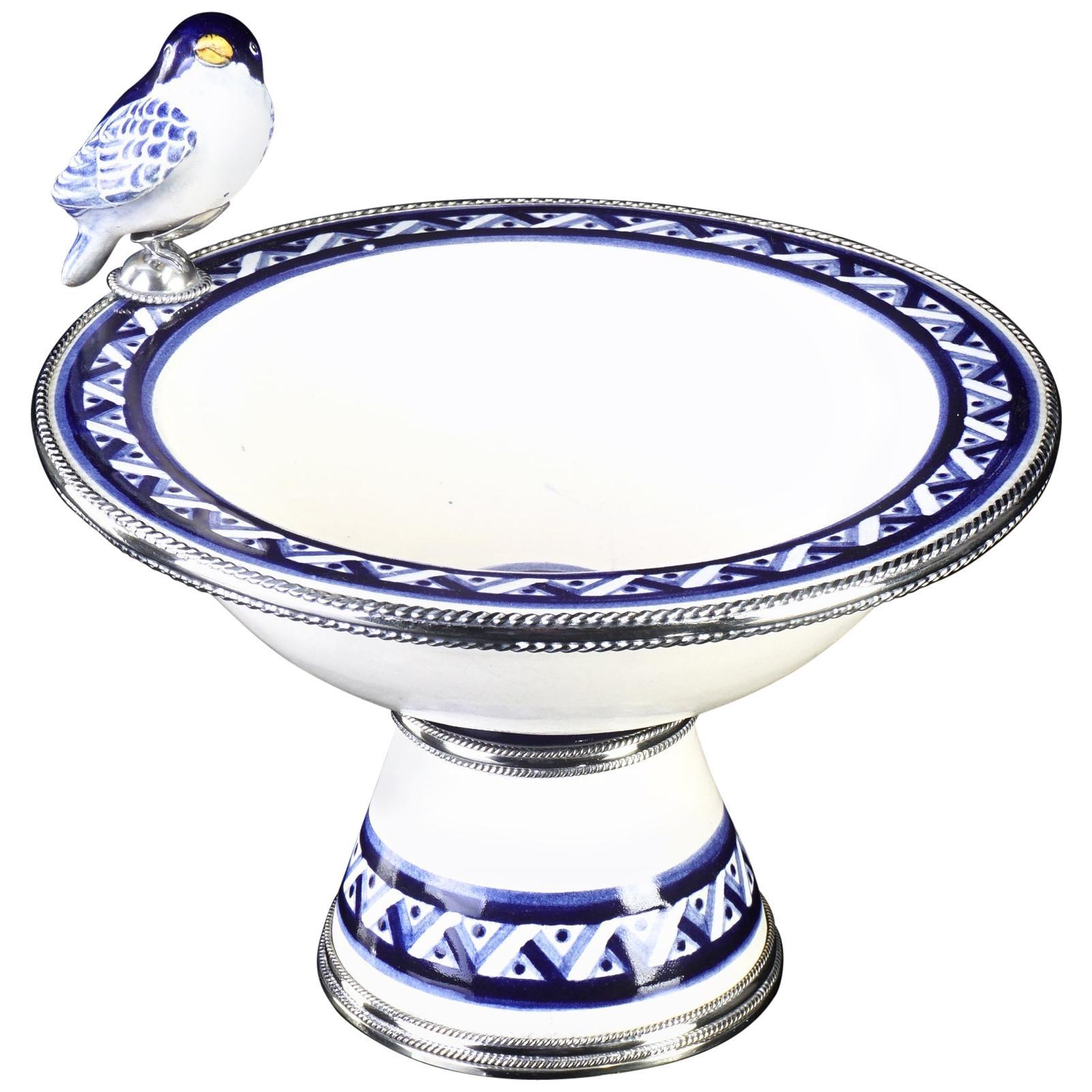 Ceramic and White Metal 'Alpaca' Bird Bowl Centrepiece