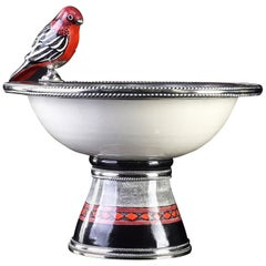 Ceramic and White Metal 'Alpaca' Bird Bowl Centerpiece