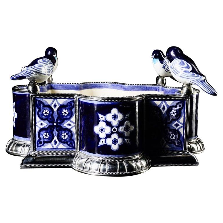 Ceramic and White Metal 'Alpaca' Bird Bowl Centerpiece For Sale