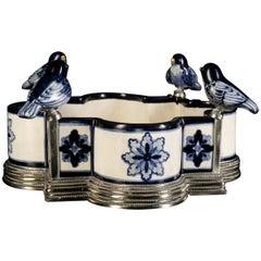 Ceramic and White Metal 'Alpaca' Bird Centerpiece