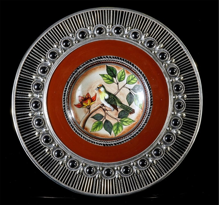 Mexican Ceramic and White Metal 'Alpaca' Birds Set of Five Plates For Sale