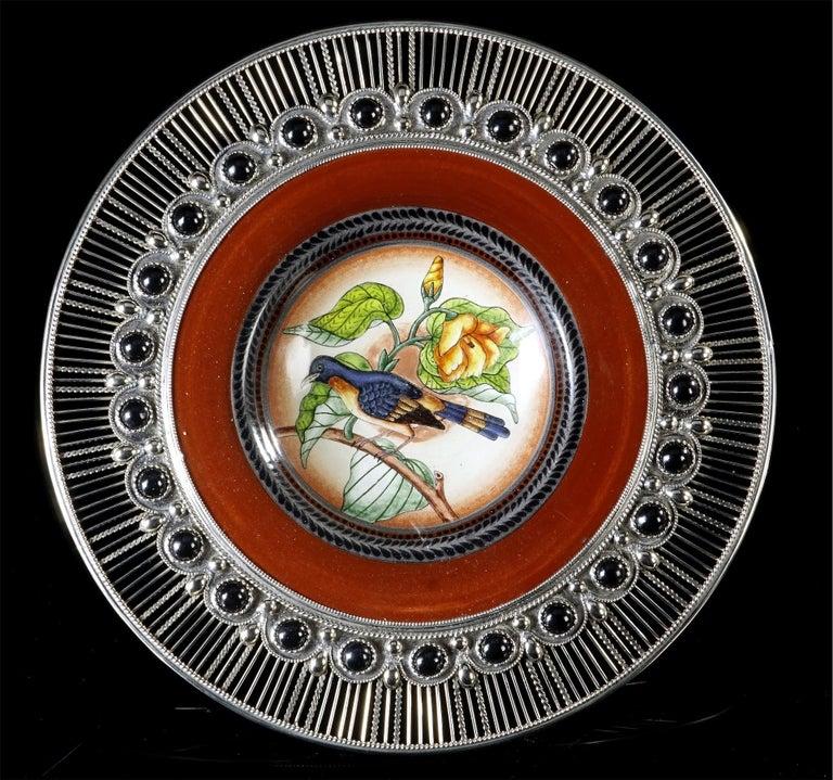 Glazed Ceramic and White Metal 'Alpaca' Birds Set of Five Plates For Sale