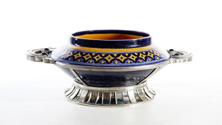 Ceramic and White Metal 'Alpaca' Bowl Centrepiece For Sale 1