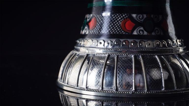 Glazed Ceramic and White Metal 'Alpaca' Cherubs Bowl Centrepiece For Sale