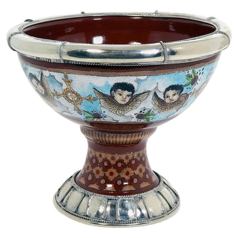 Ceramic and White Metal 'alpaca' Cherubs Bowl Centrepiece 1