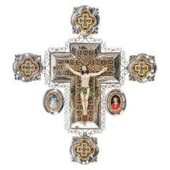 Ceramic and White Metal 'Alpaca' Crucifix with Cerámic Corpus of Christ