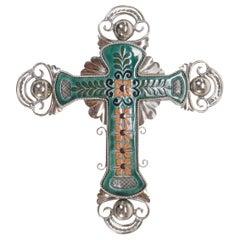 Ceramic and White Metal 'Alpaca' Crucifix with Cerámic