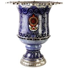 Ceramic and White Metal 'Alpaca' Flower Pot