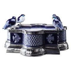 Ceramic and White Metal 'Alpaca' Four Birds Centrepiece