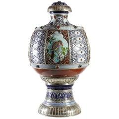 Ceramic and White Metal 'Alpaca' Jar with Birds
