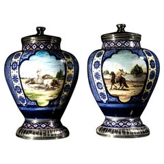 Ceramic and White Metal 'Alpaca' Jar with Hand Painted Charrería Motives Pair