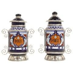 Ceramic and White Metal 'Alpaca' Jar with Hand Painted Motives Pair