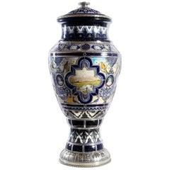Ceramic and White Metal 'Alpaca' Landscape Jar, One of a Kind