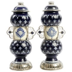 Ceramic and White Metal 'Alpaca' Pair of Pharmacy Jars