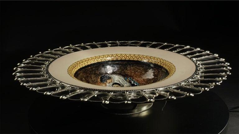 Glazed Ceramic and White Metal 'Alpaca' Platter,
