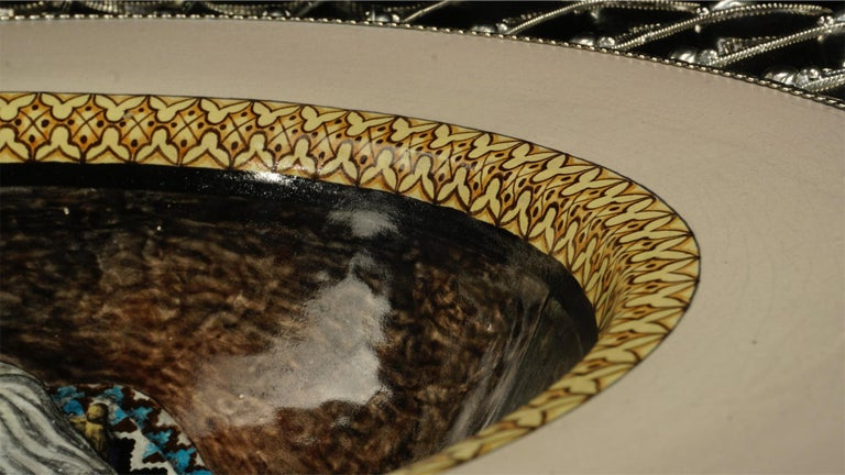 Ceramic and White Metal 'Alpaca' Platter,