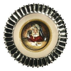 "Ceramic and White Metal 'Alpaca' Platter, ""lebrillo"""