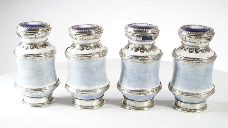 Other Ceramic and White Metal 'Alpaca' Set of  4 Pharmacy Jars For Sale