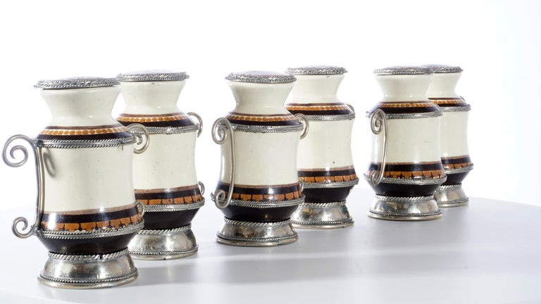 Other Ceramic and White Metal 'Alpaca' Set of 9 Pharmacy Jars For Sale