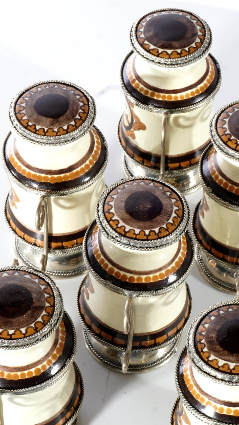 Mexican Ceramic and White Metal 'Alpaca' Set of 9 Pharmacy Jars For Sale