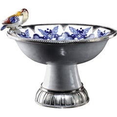 Ceramic and White Metal 'Alpaca' Two Birds Bowl Centrepiece