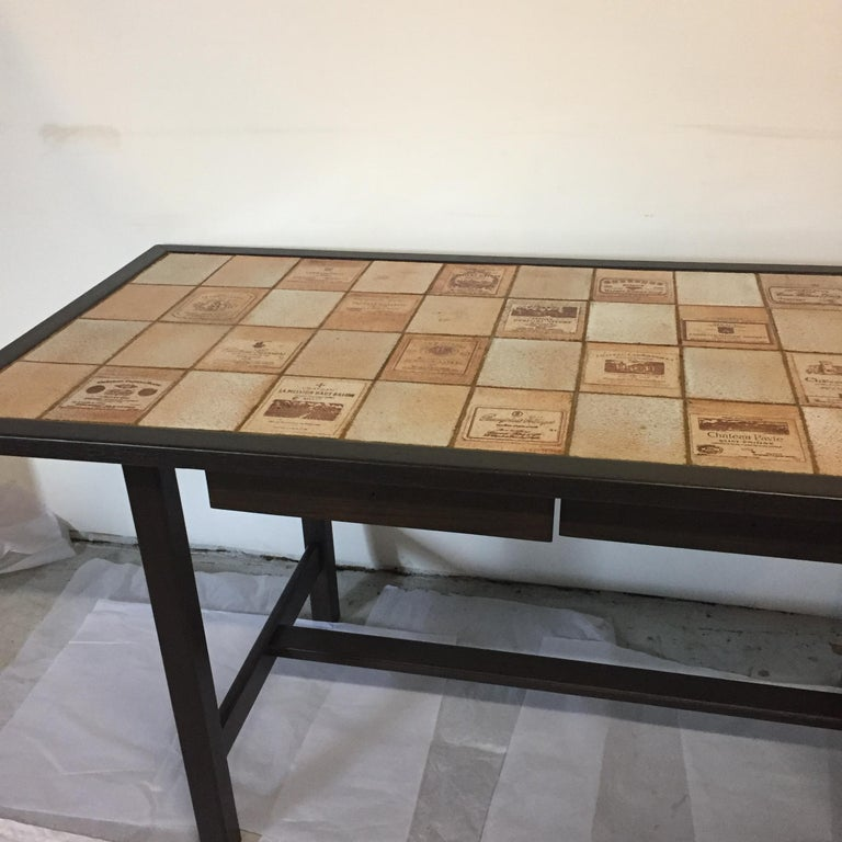 Ceramic and Wood Dining Table by Roger Capron Signed on a Tile For Sale 7