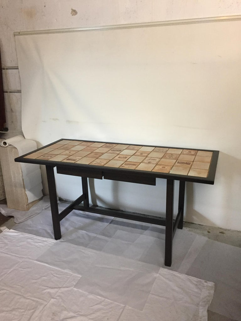 Ceramic and Wood Dining Table by Roger Capron Signed on a Tile For Sale 8