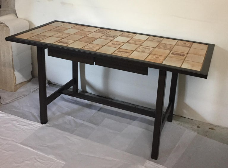 Ceramic and Wood Dining Table by Roger Capron Signed on a Tile For Sale 9